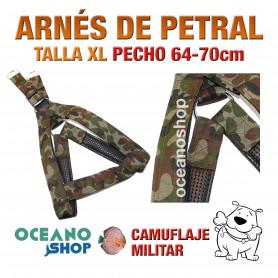 ARNÉS CAMUFLAJE MILITAR TALLA XL PETRAL AJUSTABLE PERRO PECHO 64-70cm