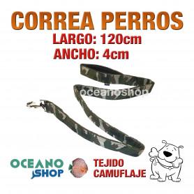 CORREA PERRO TEJIDO CAMUFLAJE MILITAR DE CALIDAD 120cm LARGO