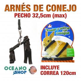 ARNÉS Y CORREA PARA CONEJOS DE CALIDAD 32,5cm Máximo de PECHO L49CNJ 1697