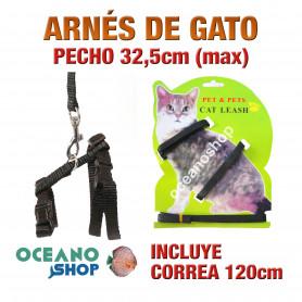 ARNÉS Y CORREA PARA GATOS AJUSTABLE CALIDAD 32,5cm Máximo de PECHO