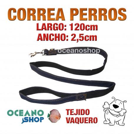 CORREA PERRO TEJIDO VAQUERO DE CALIDAD 120cm LARGO