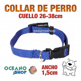 COLLAR PERRO AZUL AJUSTABLE DE NYLON CUELLO 26-38cm ANCHO 1,5cm