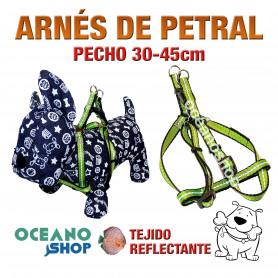 ARNÉS PETRAL VERDE TEJIDO REFLECTANTE AJUSTABLE PERRO PECHO 30-45cm