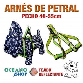 ARNÉS PETRAL VERDE TEJIDO REFLECTANTE AJUSTABLE PERRO PECHO 40-55cm