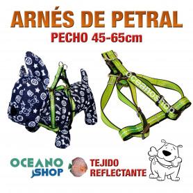 ARNÉS PETRAL VERDE TEJIDO REFLECTANTE AJUSTABLE PERRO PECHO 45-65cm