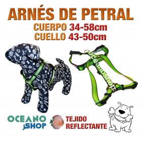 ARNÉS PETRAL VERDE TEJIDO REFLECTANTE AJUSTABLE PERRO CUERPO 34-58cm