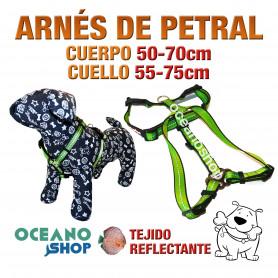 ARNÉS PETRAL VERDE TEJIDO REFLECTANTE AJUSTABLE PERRO CUERPO 50-70cm