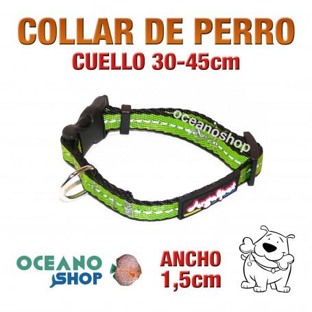 COLLAR PERRO VERDE TEJIDO REFLECTANTE AJUSTABLE DE CALIDAD CUELLO 30-45