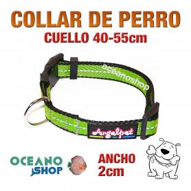 COLLAR PERRO VERDE TEJIDO REFLECTANTE AJUSTABLE DE CALIDAD CUELLO 40-55cm
