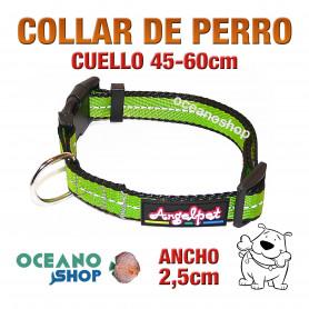 COLLAR PERRO VERDE TEJIDO REFLECTANTE AJUSTABLE DE CALIDAD CUELLO 45-60cm