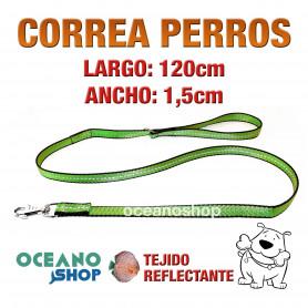 CORREA PERRO VERDE TEJIDO REFLECTANTE DE CALIDAD 120cm LARGO