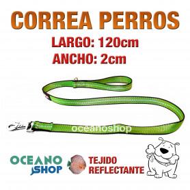 CORREA PERRO VERDE TEJIDO REFLECTANTE DE 2cm ANCHO 120cm LARGO