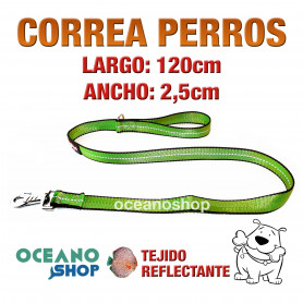CORREA PERRO VERDE TEJIDO REFLECTANTE DE 2,5cm ANCHO 120cm LARGO