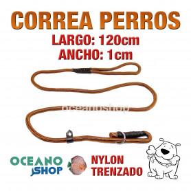 CORREA PERRO NYLON ESTRANGULADORA CON QUITAVUELTAS 150cm Largo