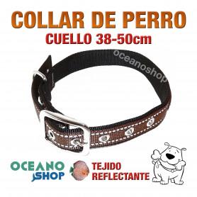 COLLAR PERRO MARRÓN TEJIDO REFLECTANTE AJUSTABLE CUELLO 38-50 cm