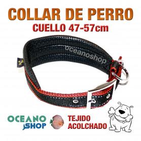 COLLAR PERRO ROJO Y NEGRO ACOLCHADO AJUSTABLE CALIDAD CUELLO 47-57cm