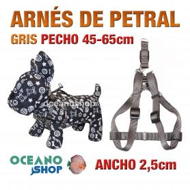 ARNÉS PETRAL GRIS CÓMODO AJUSTABLE PERRO PECHO 45-65cm ANCHO 2,5cm