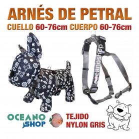 ARNÉS PETRAL PERRO NYLON GRIS DE CALIDAD AJUSTABLE CUERPO 60-76cm