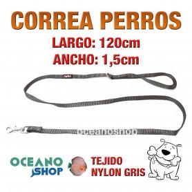 CORREA PERRO NYLON GRIS DE CALIDAD 1,5cm ANCHO 120cm LARGO