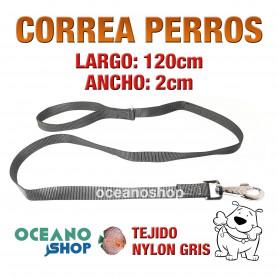 CORREA PERRO NYLON GRIS DE CALIDAD 2cm ANCHO 120cm LARGO