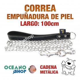 CORREA DE PERRO CON EMPUÑADURA DE PIEL NEGRA Y CADENA METÁLICA 100cm Largo