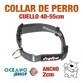 COLLAR PERRO NYLON GRIS AJUSTABLE DE CALIDAD CUELLO 40-55cm