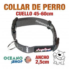 COLLAR PERRO NYLON GRIS AJUSTABLE DE CALIDAD CUELLO 45-60cm