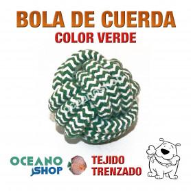 Pelota de Cuerda Tejido tenzado Perro Algodón verde y blanca