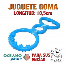 JUGUETE GOMA BLANDA CIRCULAR AZUL ESPECIAL ENCÍAS PERRO CACHORRO DIENTES 18,5cm Longitud
