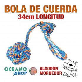 Bola de Cuerda Perro Algodón Limpiaencías Azul y Naranja 34cm Longitud Calidad Dientes Gengivitis