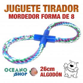 Juguete mordedor tirador perro forma de ocho 26cm longitud algodón trenzado