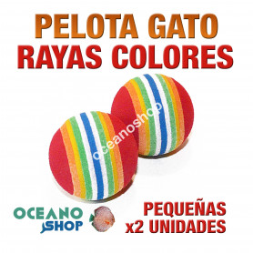 Juguete x2 pelotas gato pequeñas rayas colores 3,5cm diámetro