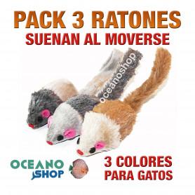 Juguete pack x3 ratones para gato varios colores suenan al moverse