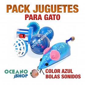 Pack juguetes variados para gato plástico azul pelota con sonido ratón