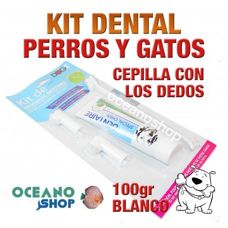 Kit dental cepillo de dientes y accesorios perro y gato pasta 100gr