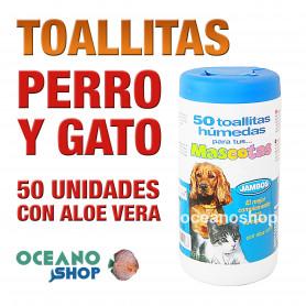 Bote toallitas húmedas perro y gato aloe vera 50 unidades
