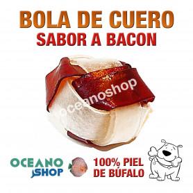Bola de cuero perro 100% piel de búfalo sabor a bacon 5cm encías morder