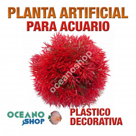 Planta artificial decoración acuario plástico rojo 10cm diametro peces refugio