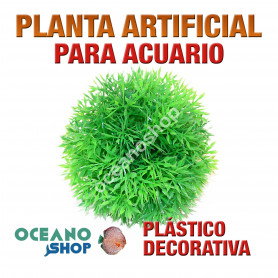 Planta artificial decoración acuario plástico verde 10cm diametro peces refugio