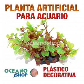Planta artificial decoración acuario plástico verde y roja 16cm diametro peces refugio