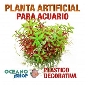 Planta artificial decoración acuario plástico verde y roja 14cm diametro peces refugio