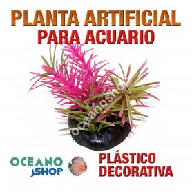 Planta artificial decoración acuario plástico verde y rosa 10cm diametro peces refugio