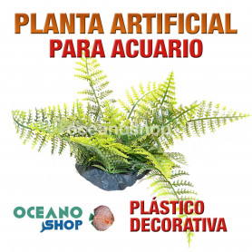 Planta artificial decoración acuario plástico verde 20cm diametro peces refugio