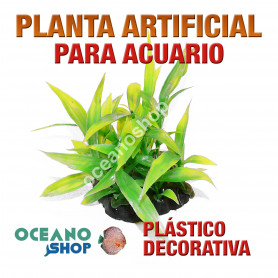Planta artificial decoración acuario plástico verde 13cm diametro peces refugio