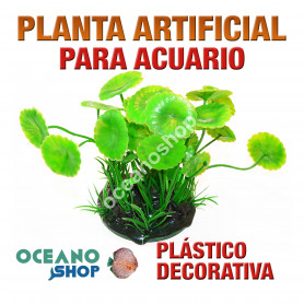 Planta artificial decoración acuario plástico verde 18cm diametro peces refugio