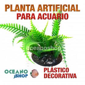 Planta artificial decoración acuario plástico verde 13x6cm diametro peces refugio