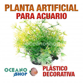 Planta artificial decoración acuario plástico verde y amarillo 13cm diametro peces refugio