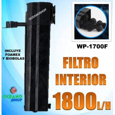 Filtro interior 1800l/h 30w con foamex y biobolas