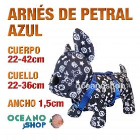 ARNÉS PETRAL AZUL CÓMODO AJUSTABLE PERRO CUERPO 22-42cm CUELLO 22-36cm L69 1887