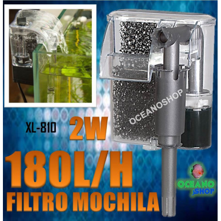 filtro mochila xilong xl 810 180 lh acuario pecera 2w mini nano